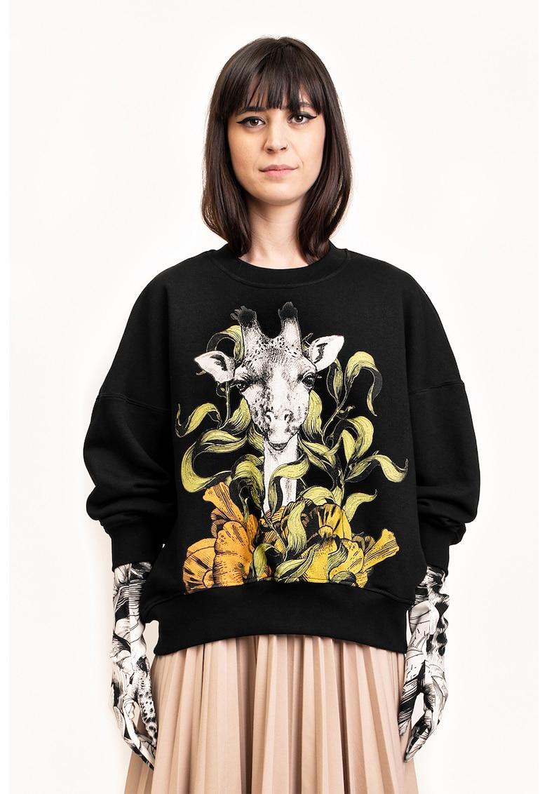 Bluza sport cu imprimeu cu girafa