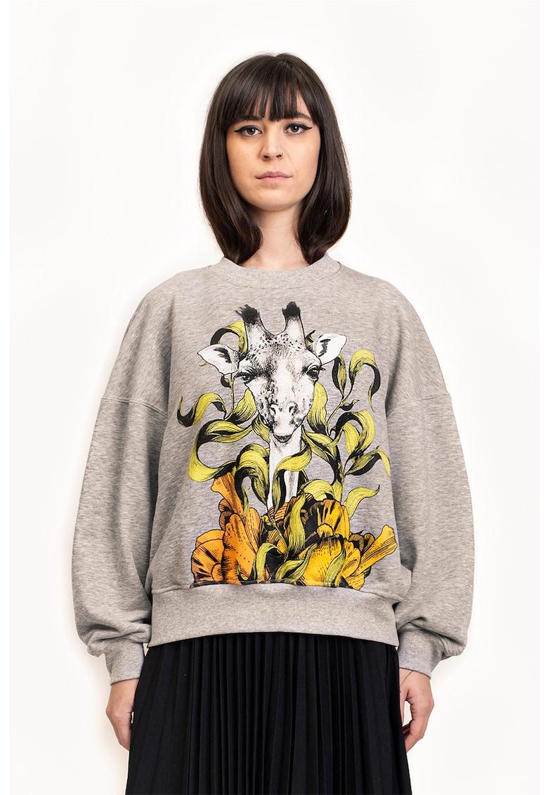 Bluza sport cu imprimeu cu girafa imagine fashiondays.ro