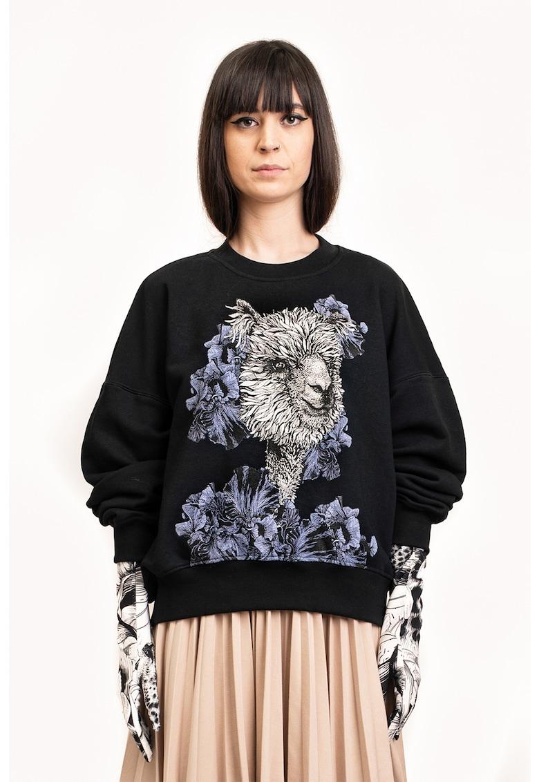 Bluza sport lejera cu imprimeu grafic imagine fashiondays.ro