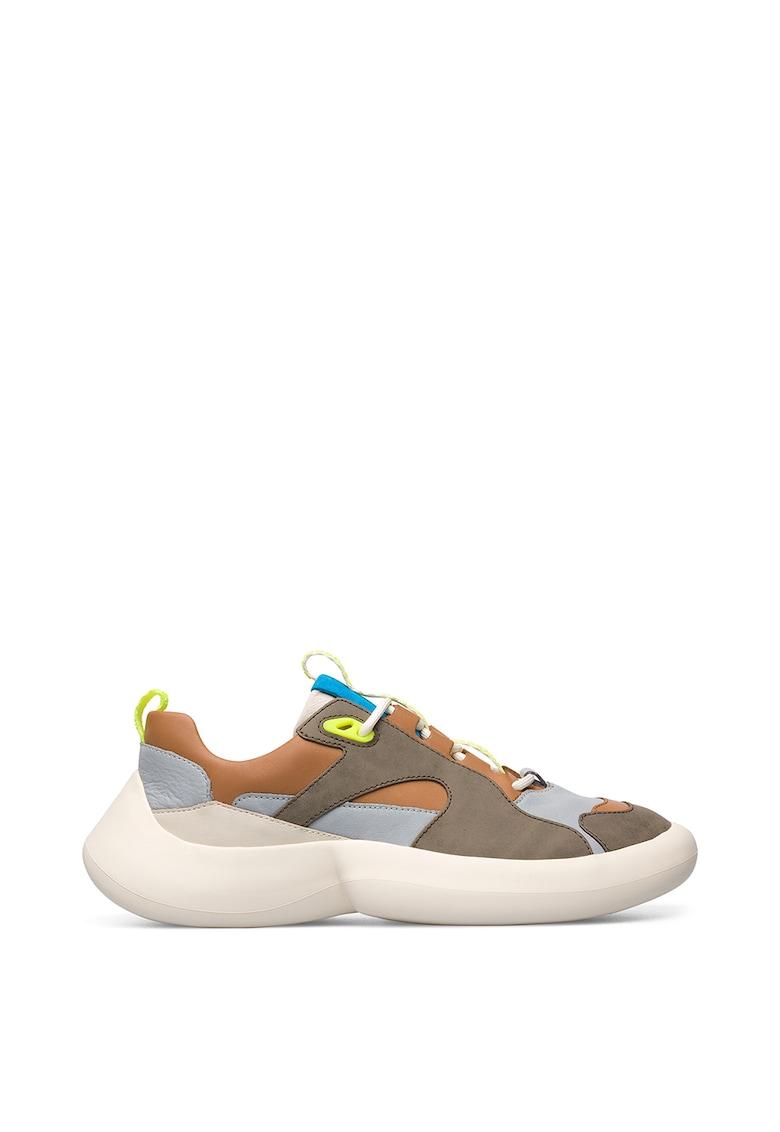 Pantofi sport din piele si piele intoarsa cu model colorblock imagine