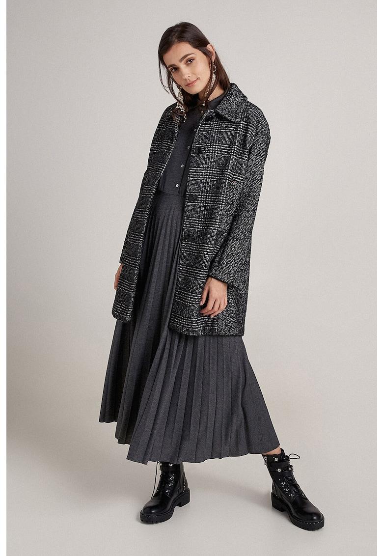 Palton din amestec de lana cu segmente cu model in carouri