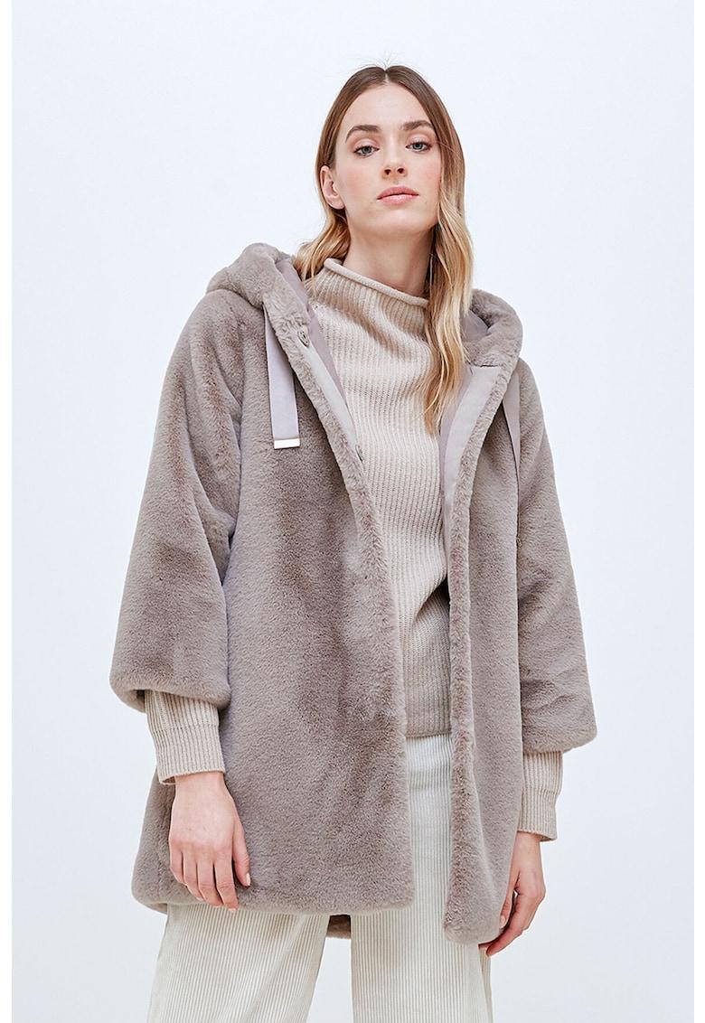 Palton de blana sintetica cu gluga imagine promotie