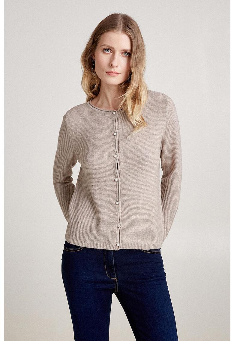 Cardigan din amestec de lana cu aspect striat imagine promotie