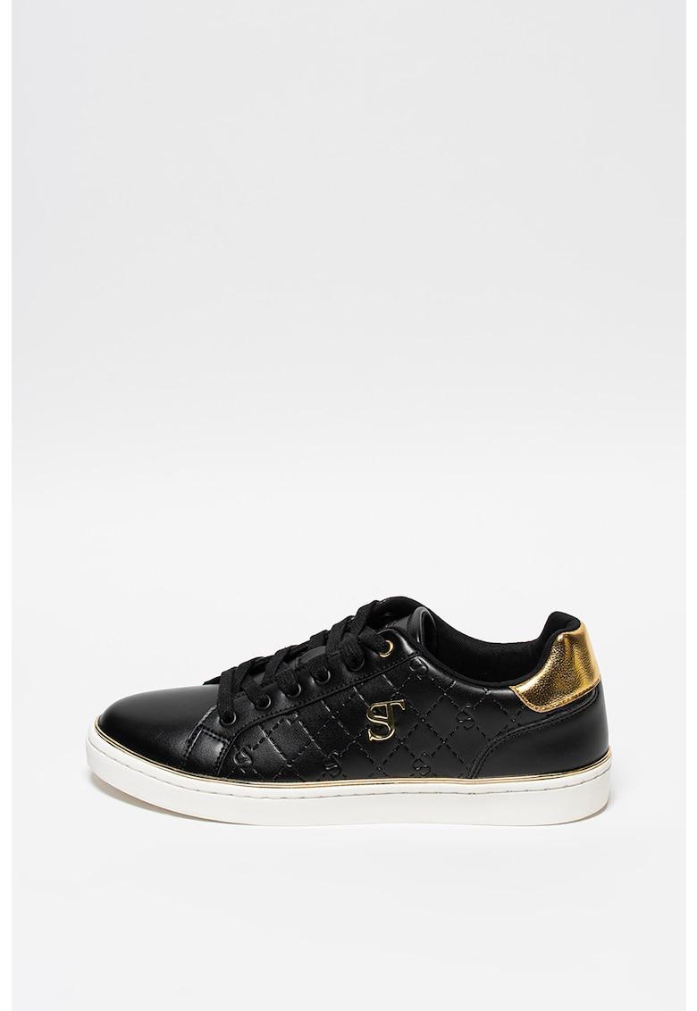 Pantofi sport de piele ecologica cu aplicatie logo metalica Lela