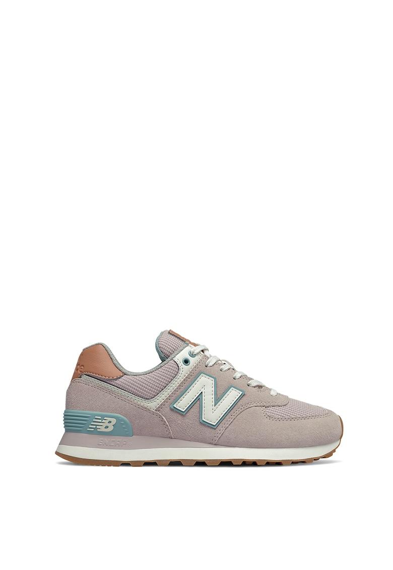 Pantofi sport de piele intoarsa cu insertii de piele ecologica 574