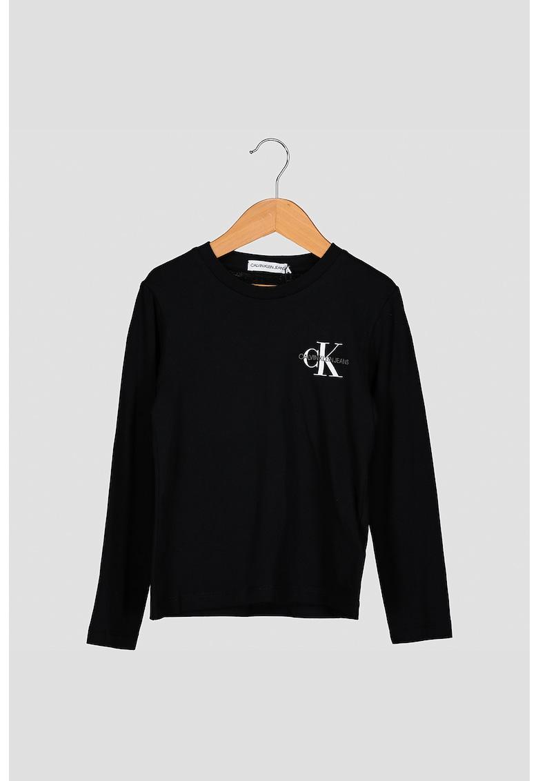 Bluza din bumbac organic cu detaliu logo pe piept