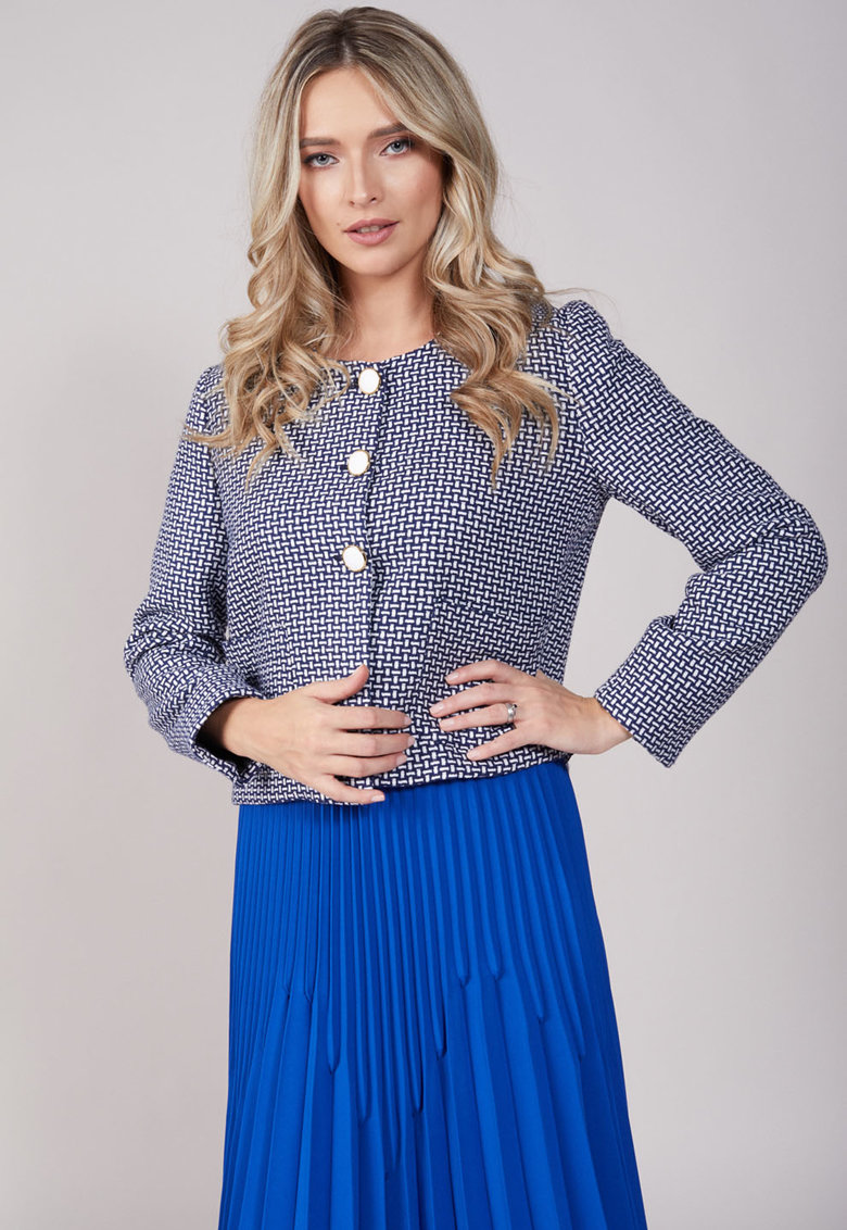 Sacou din amestec de lana cu model geometric Board Meeting imagine fashiondays.ro