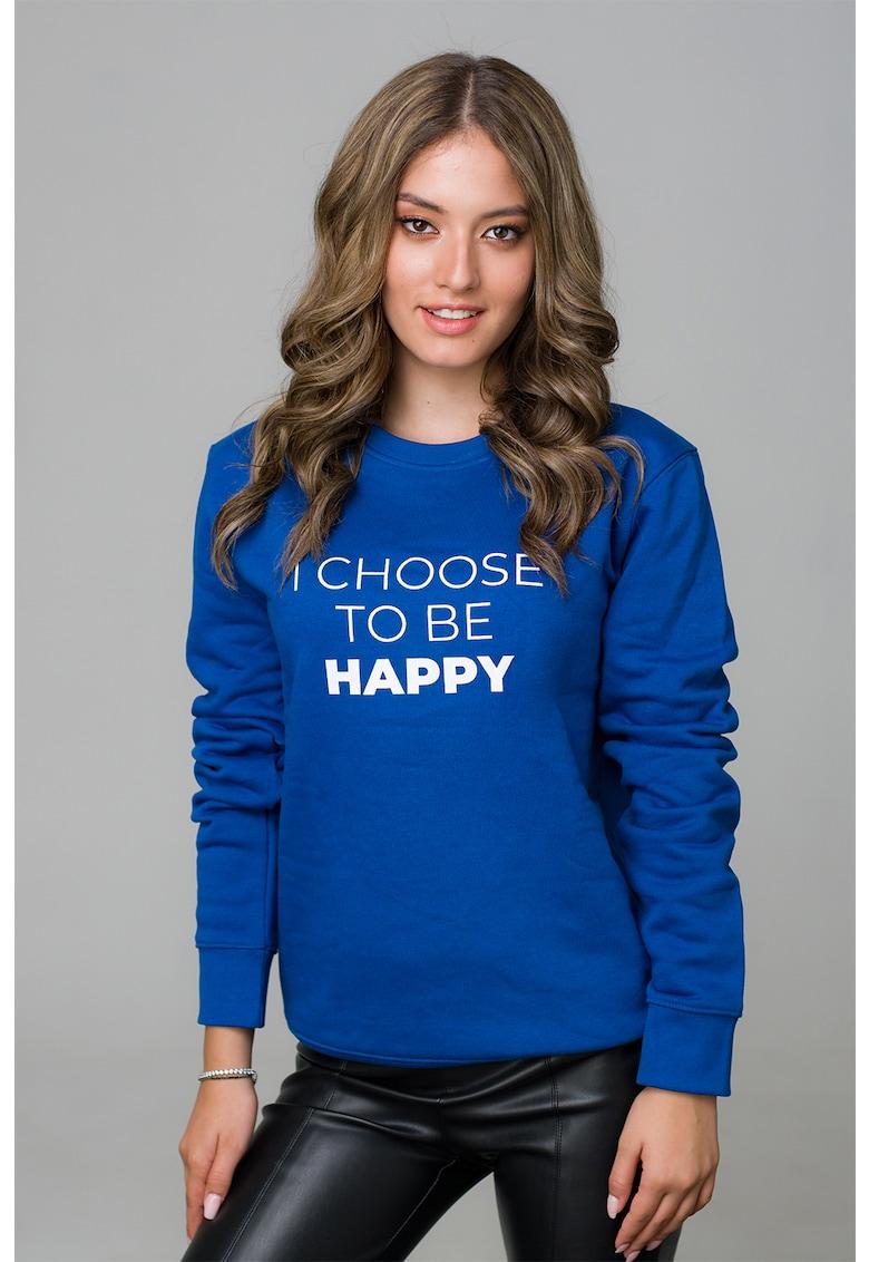 Bluza sport cu decolteu la baza gatului si imprimeu text