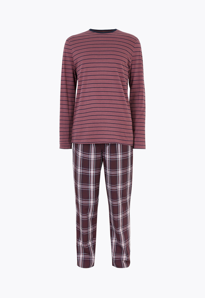 Bluza cu dungi si pantaloni de pijama din bumbac - cu carouri imagine
