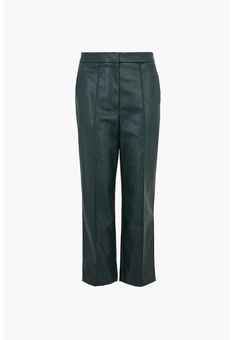 Pantaloni crop din piele ecologica cu croiala dreapta