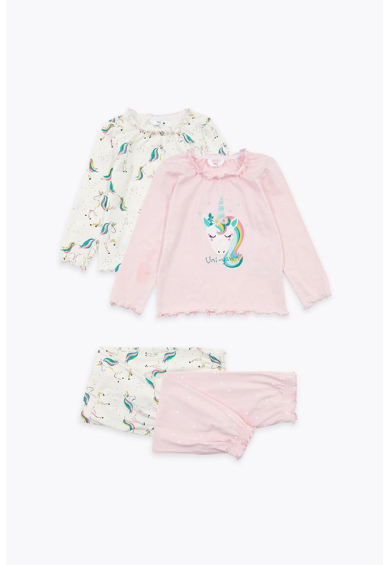 Set de pijamale cu imprimeu cu unicorn - 2 perechi