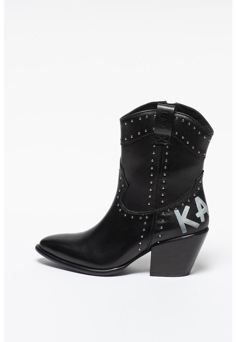 Ghete cowboy mid-calf de piele Kavalier II imagine fashiondays.ro