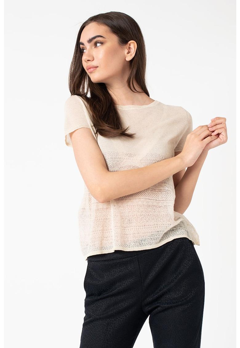 Tricou din amestec de lana cu decolteu la baza gatului imagine
