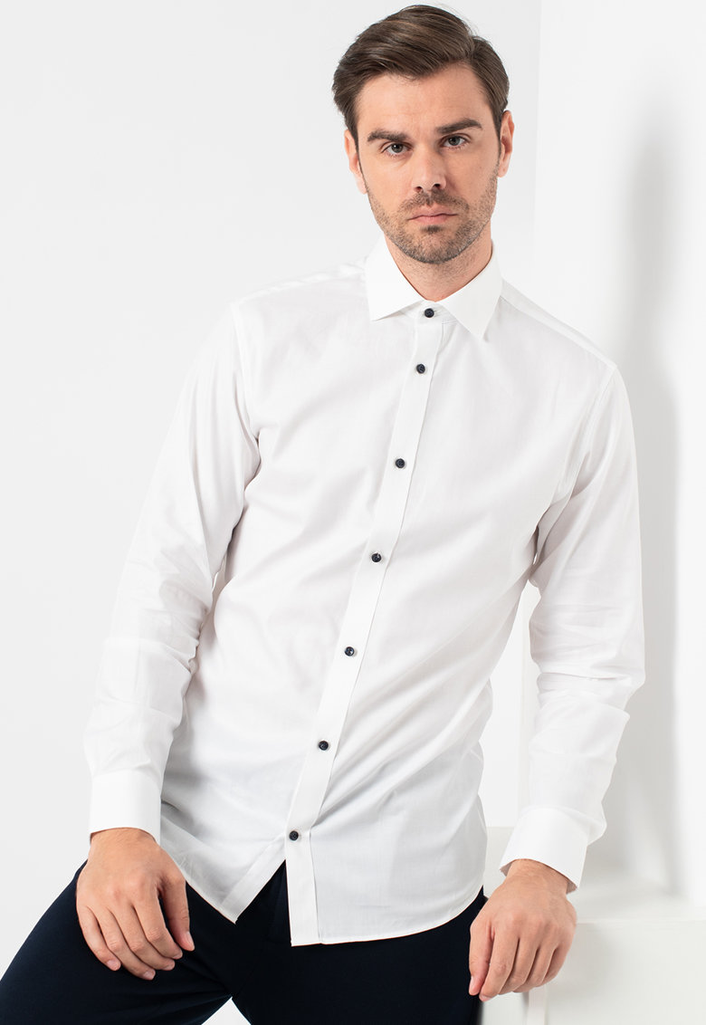 Camasa slim fit cu nasturi contrastanti Blamix imagine fashiondays.ro