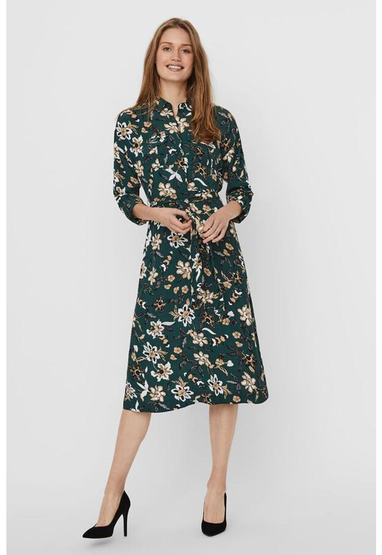 Rochie tip camasa cu imprimeu floral si cordon in talie