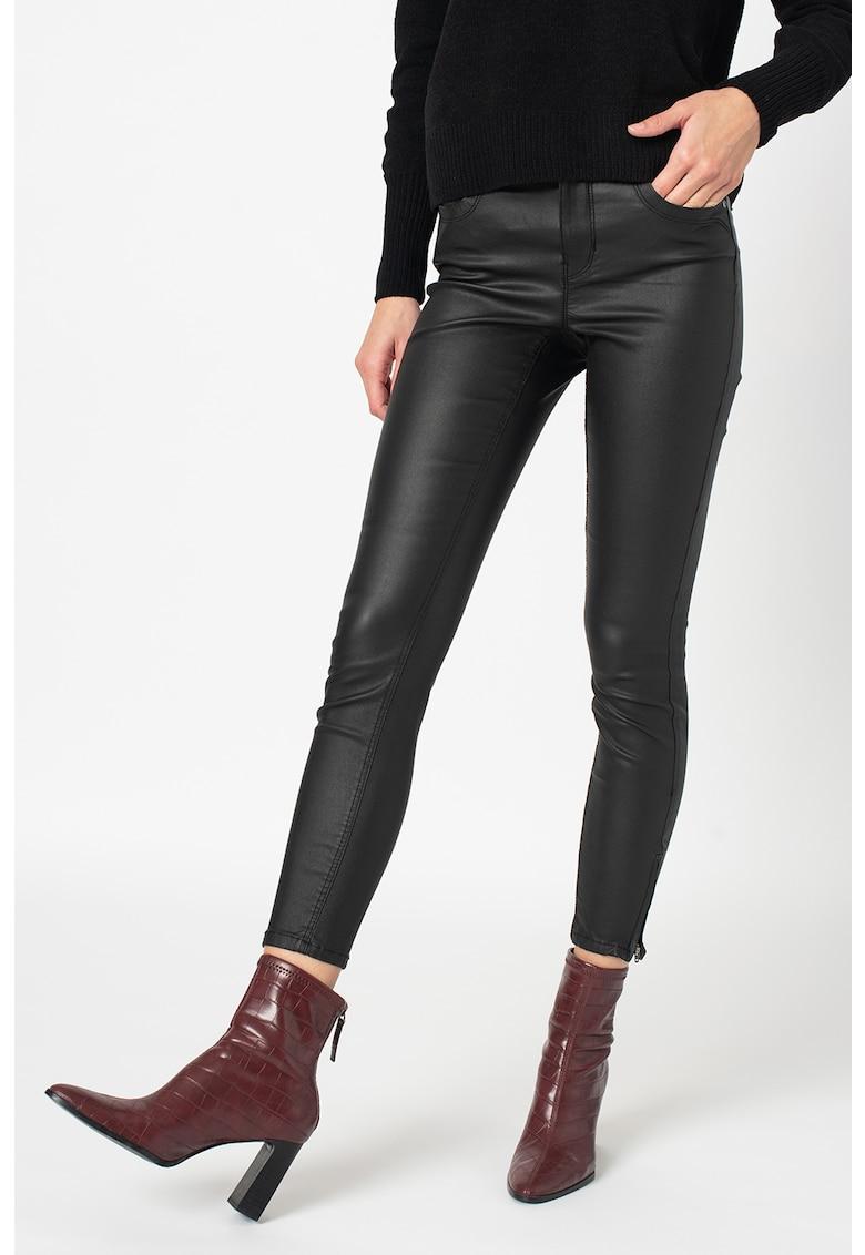 Pantaloni crop skinny cu slituri si fermoar Kendell