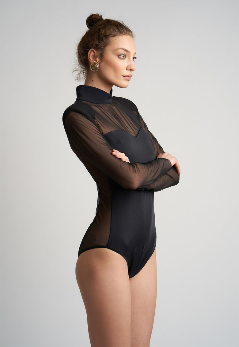 Body cu maneci lungi si insertii transparente imagine fashiondays.ro