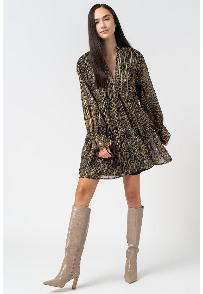 Rochie mini cu model paisley si insertii metalice