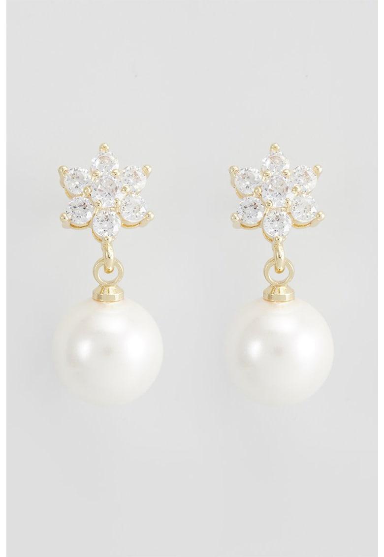 Cercei drop cu perle sintetice si zirconia