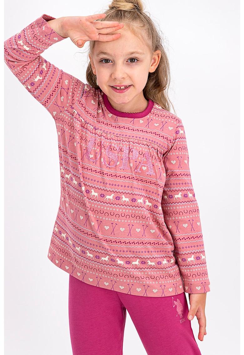 Pijama cu imprimeu logo si maneci lungi imagine fashiondays.ro