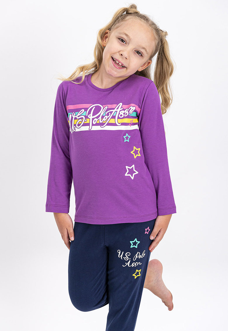 Pijama de bumbac cu imprimeu logo imagine fashiondays.ro