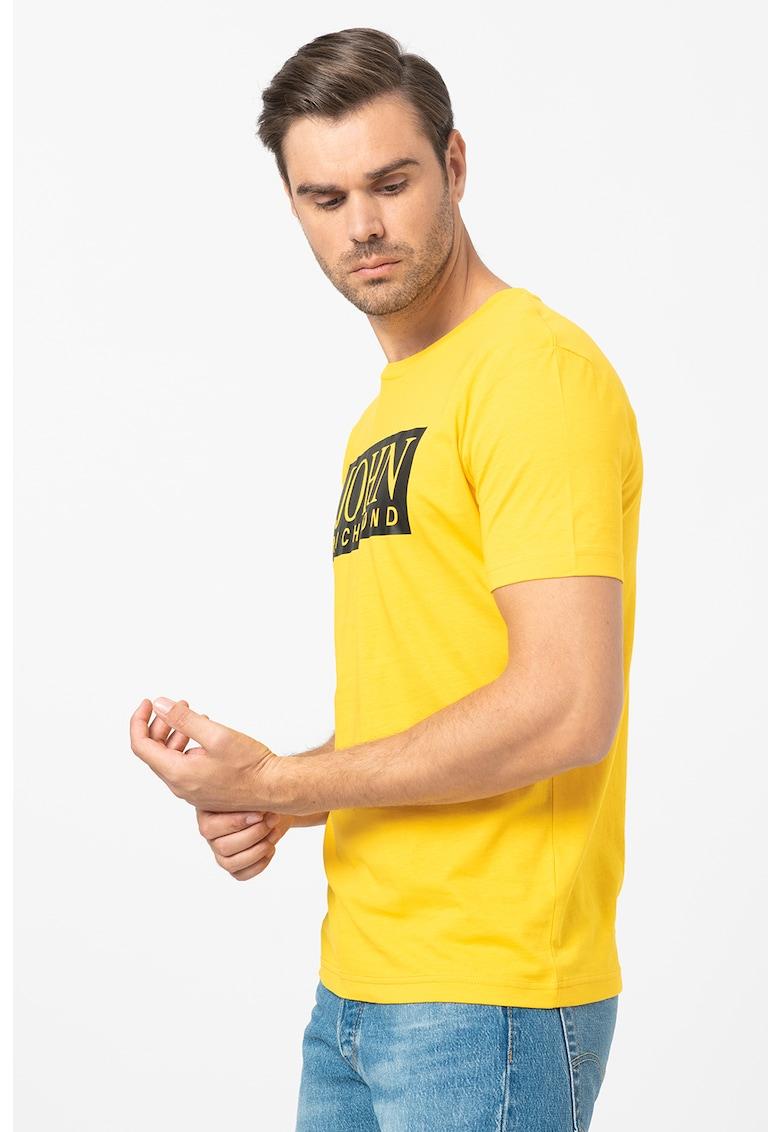 Tricou cu decolteu la baza gatului si imprimeu logo Gasher imagine