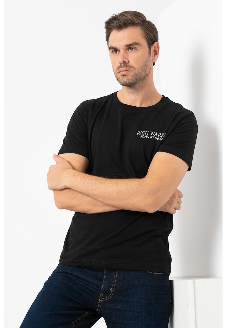 Tricou cu decolteu la baza gatului si imprimeu logo pe piept Geer