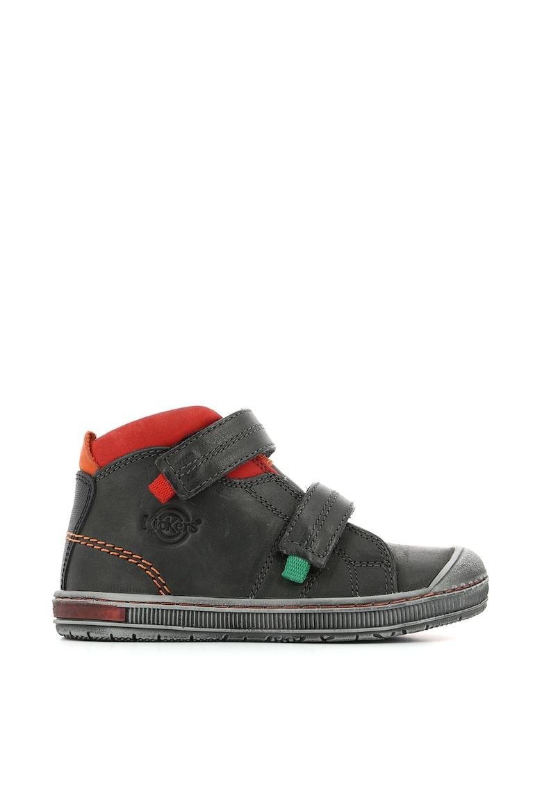 Pantofi sport din piele cu aplicatie cap-toe si inchidere velcro imagine