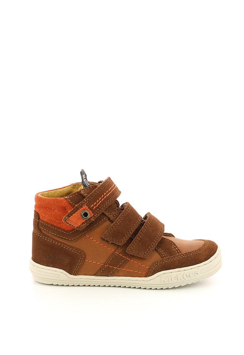 Pantofi sport din piele cu garnituri din piele intoarsa