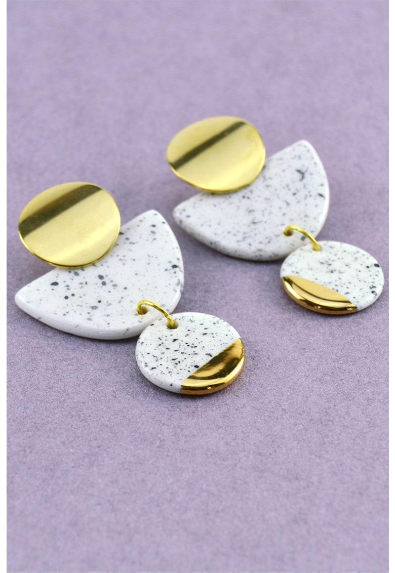 Cercei drop in forma de semiluna cu pete decorative