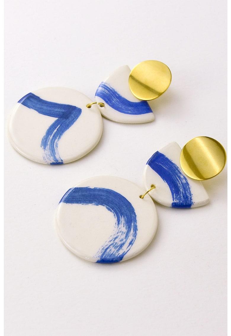 Cercei drop din otel inoxidabil si ceramica de la Gruni