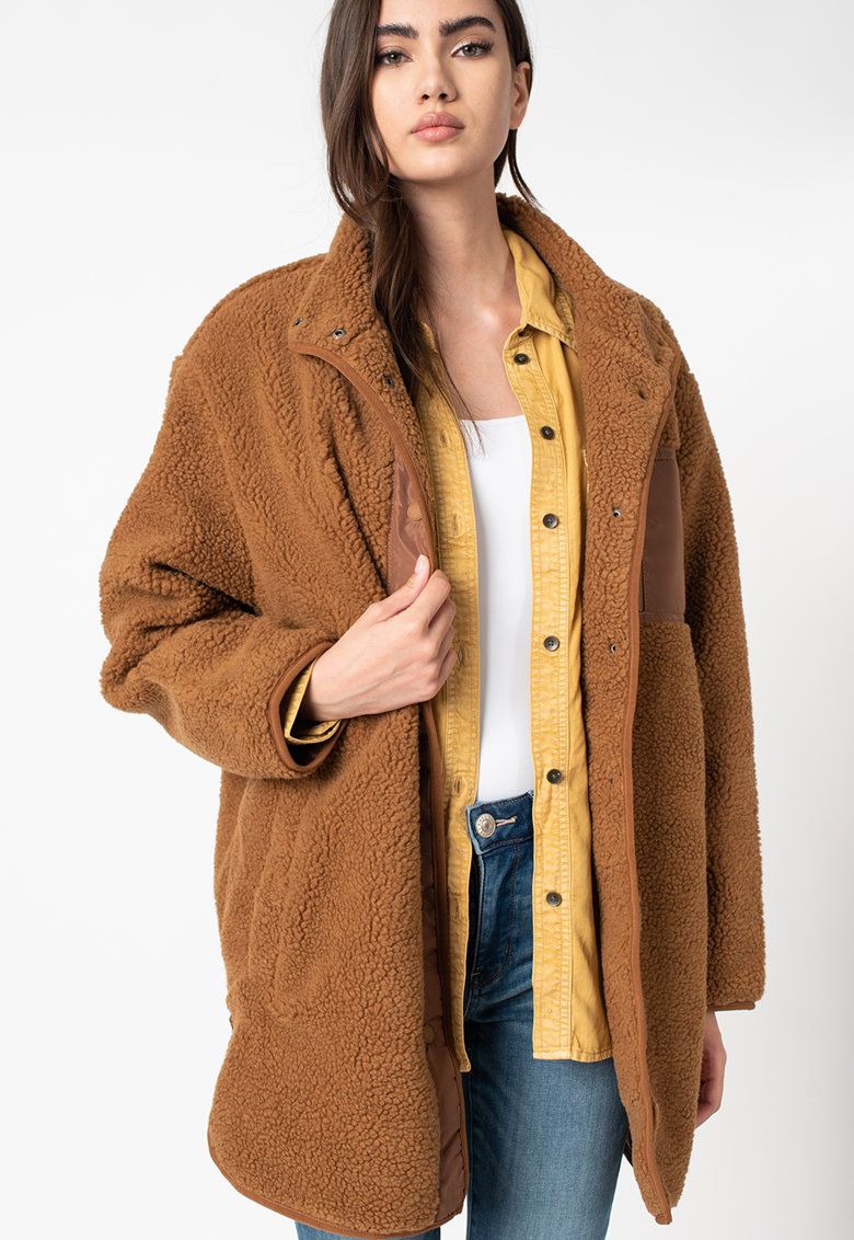 Palton cu aspect de blana shearling