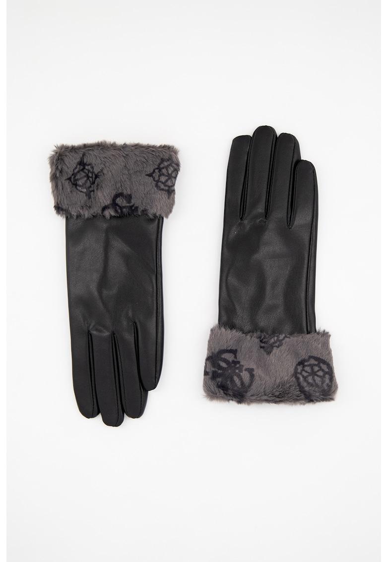 Manusi de piele ecologica cu garnituri de blana sintetica Peony poza fashiondays