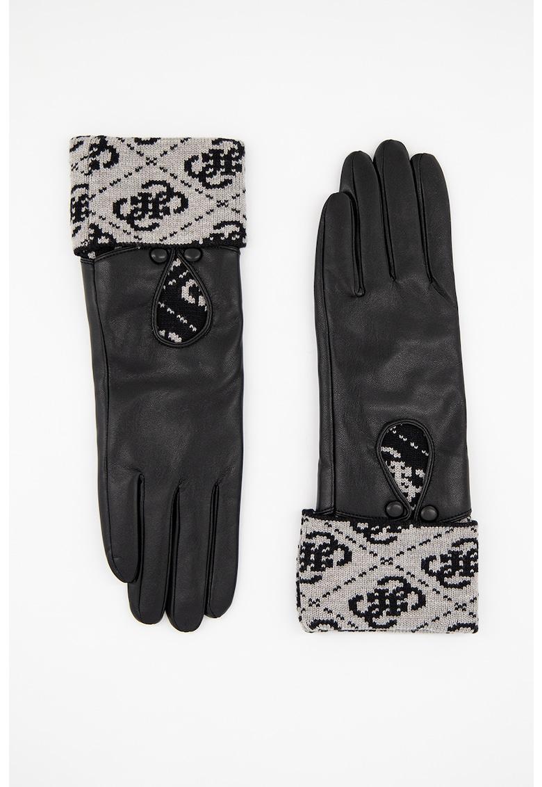Manusi de piele ecologica cu detalii logo Valy poza fashiondays