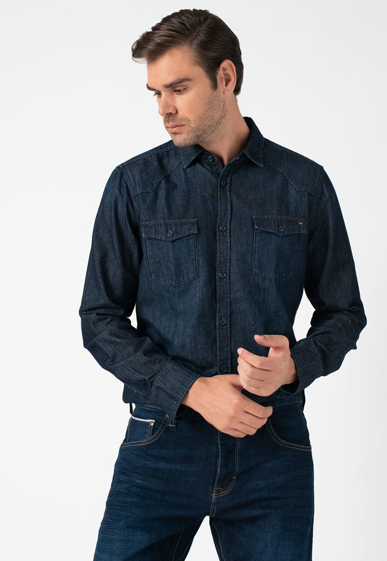 Camasa regular fit cu aspect de denim Calvin Mustang imagine 2021