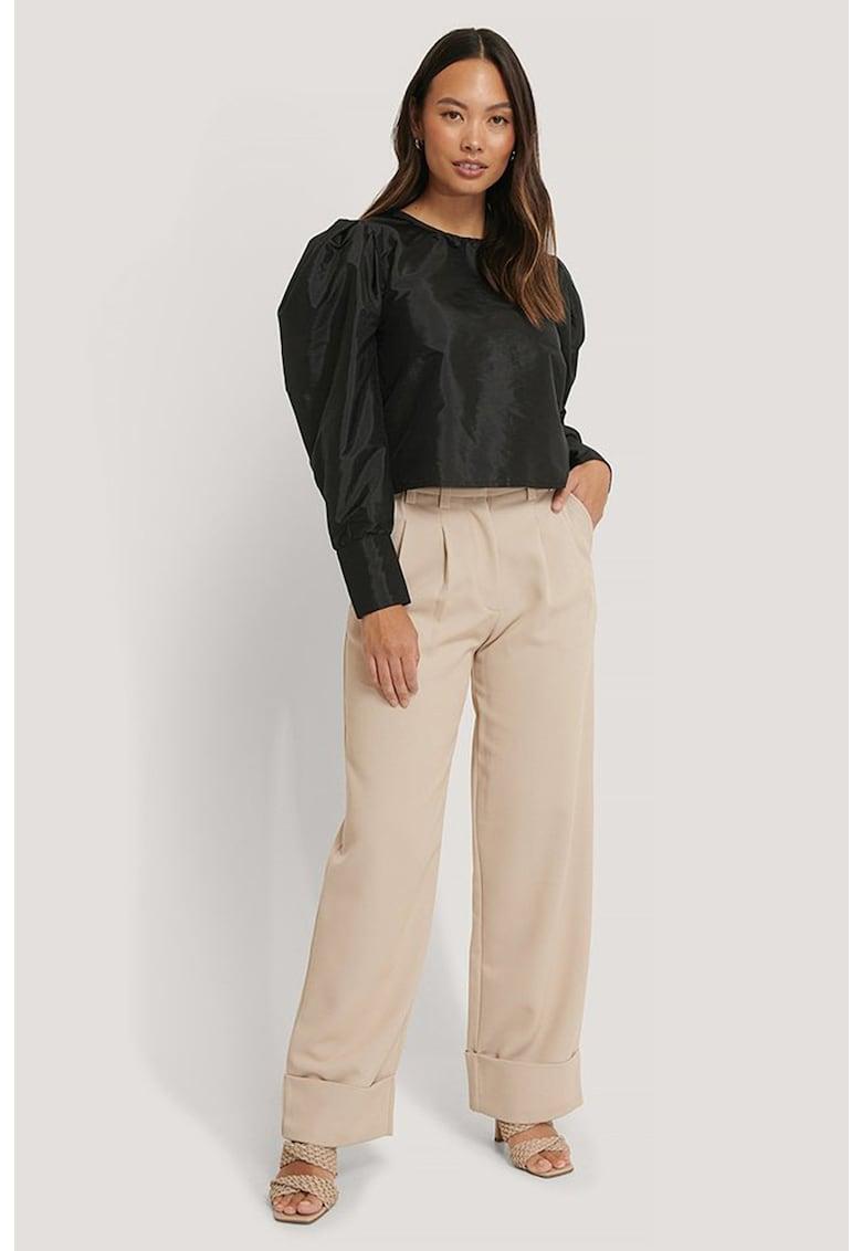 Bluza crop cu maneci bufante imagine fashiondays.ro NA-KD