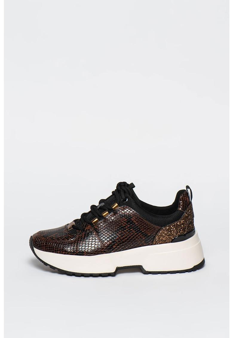 Pantofi sport de piele cu garnituri de material textil si aspect de piele de repila Cosmo