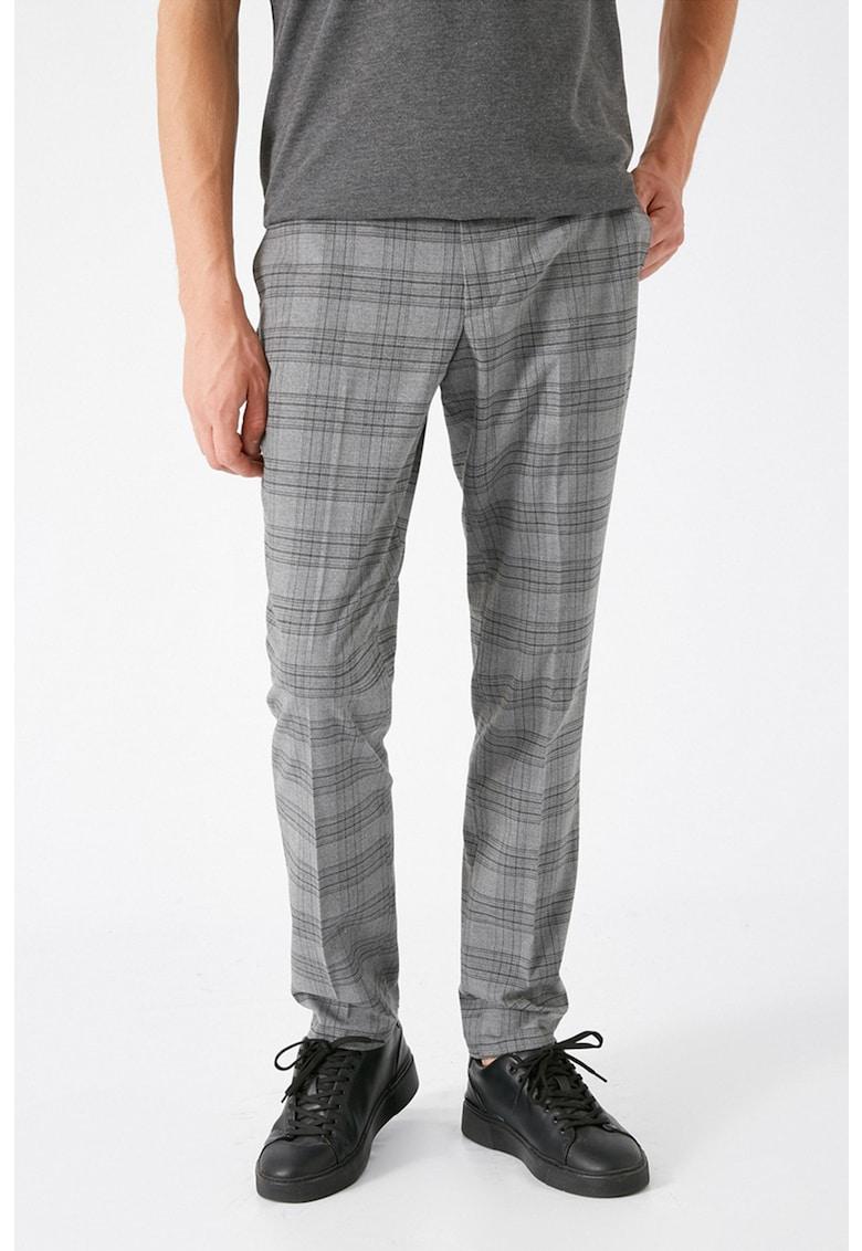 Pantaloni chino crop cu imprimeu in carouri