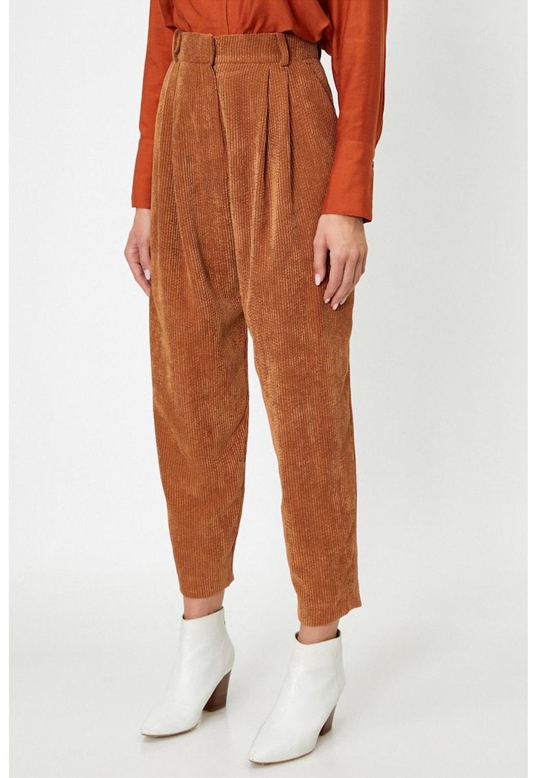 Pantaloni din reiat cu talie inalta