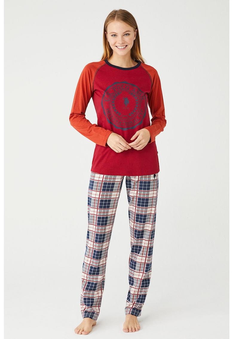 Pijama cu imprimeu si maneci raglan imagine fashiondays.ro 2021