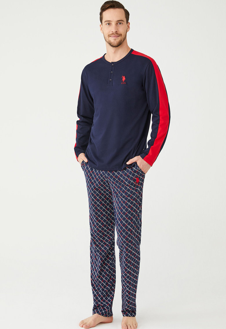 Pijama cu decolteu henley si maneci lungi imagine