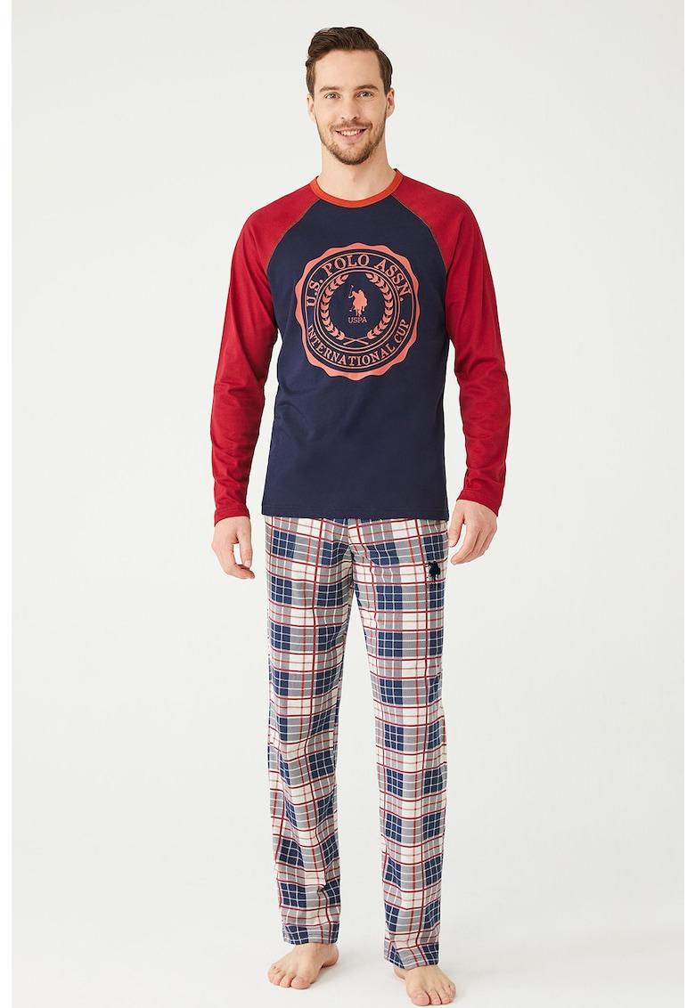 Pijama cu model in carouri si logo