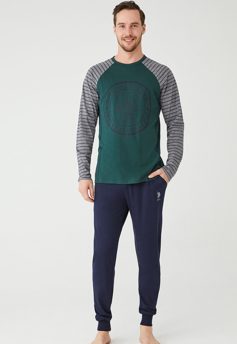 Pijama lunga cu model logo imagine