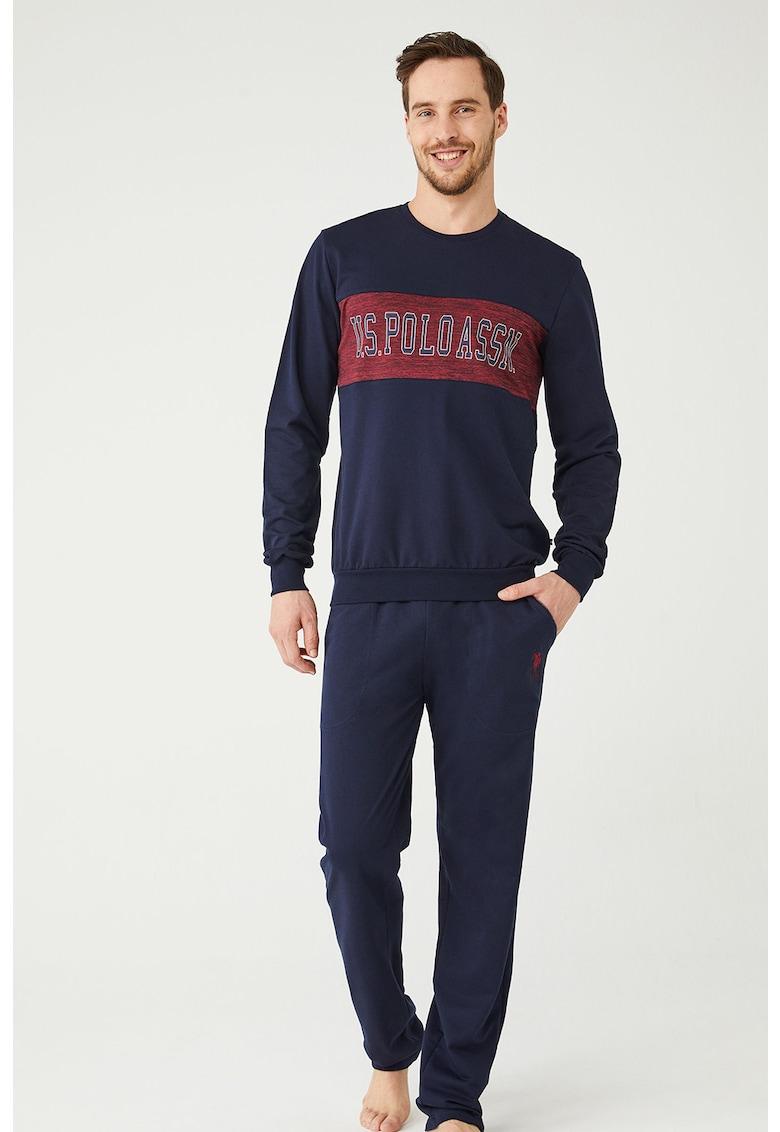 Pijama cu bluza cu imprimeu logo