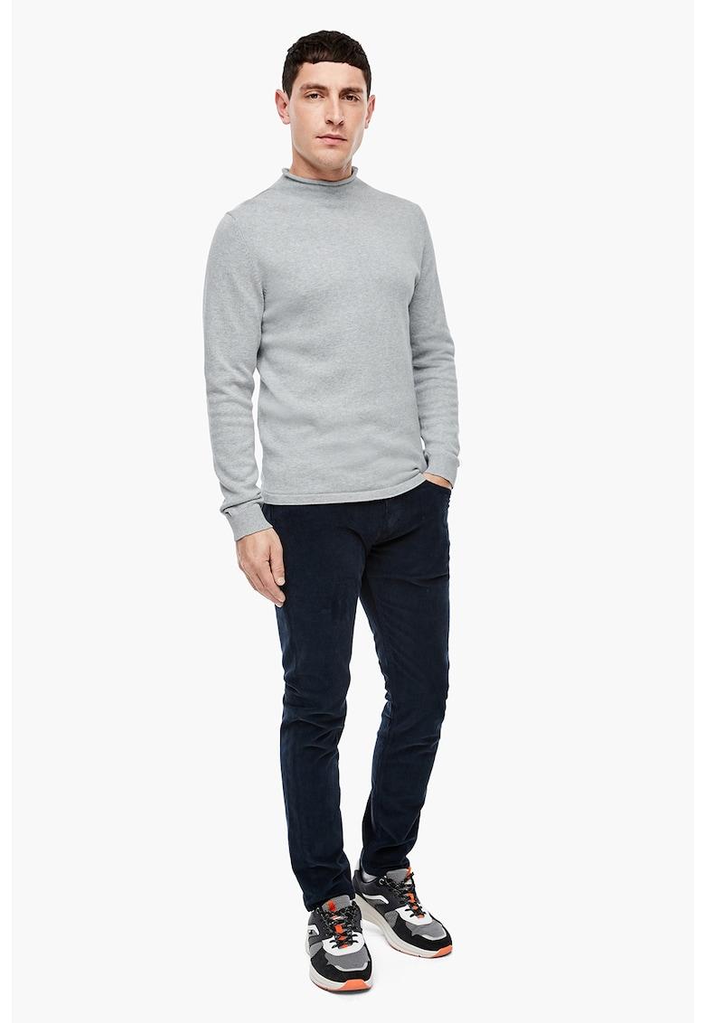Pulover tricotat fin cu guler mediu pliabil imagine