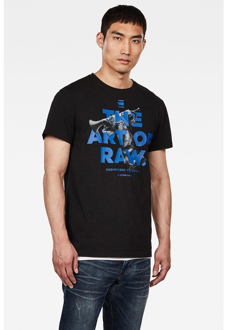 Tricou din bumbac organic cu imprimeu cauciucat pe partea din fata imagine