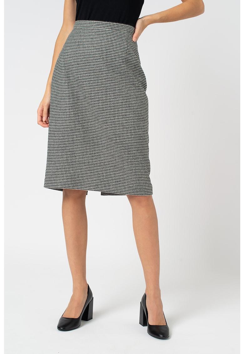 Fusta din amestec de lana cu croiala creion si model houndstooth Nina