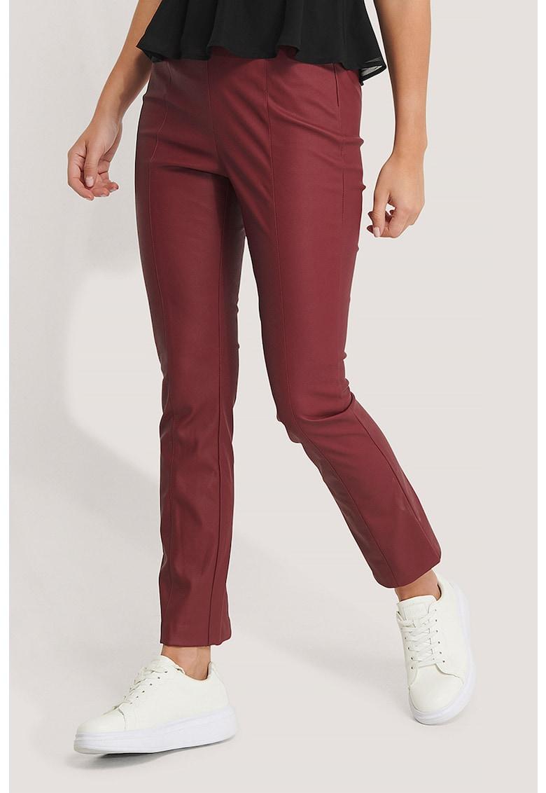 Pantaloni crop din piele ecologica