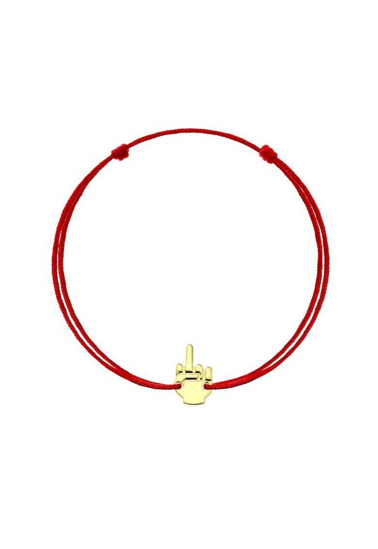 Bratara cu snururi intersanjabile de matase si talisman din aur de 14K