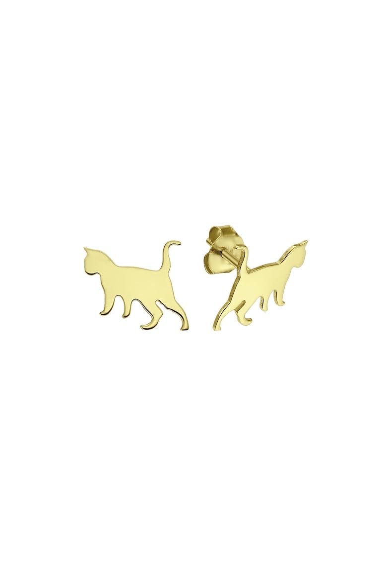 Cercei din aur de 14K in forma de pisica